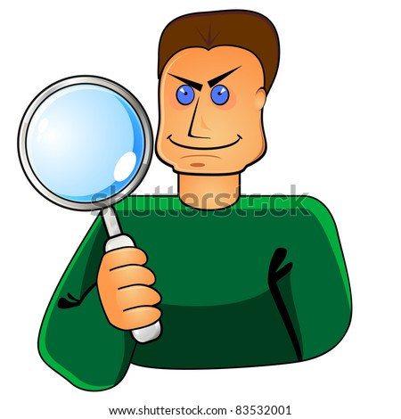 Strong young man holding big magnifier in hand