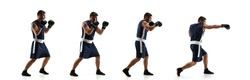 Strong. Young professional boxer training in action, motion of step-to-step kicking isolated on white background. Concept of sport, movement, energy and dynamic, healthy lifestyle. Flyer.