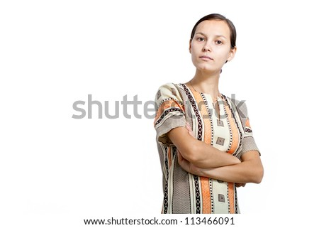 Strong young woman isolated on white