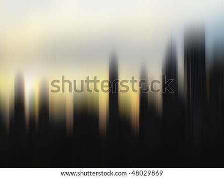 Strongly motion blurred skyline at sunset, Manhattan, New York
