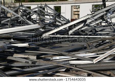 structrual steel screp metal iron recycling metallic deconstruction destroy demolation work building industry business dismentle demolish demolishing