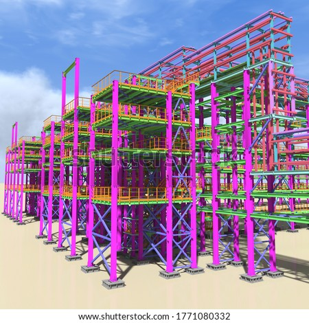 Structural BIM model of a large industrial building. Presentation of BIM design and construction technology for the construction customer. 3D rendering. stock photo