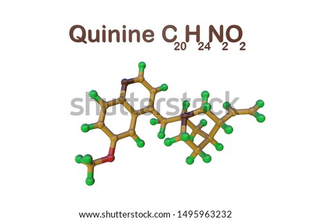 Structural chemical formula and molecular model of quinine. It is a medication used to treat malaria and babesiosis. Scientific background. 3d illustration Stock photo ©