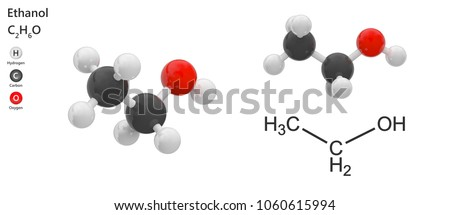 Structural chemical formula and molecular structure of Ethanol (drinking alcohol). Formula: C2H6O or C2H5OH . 3D illustration. Isolated on white background. The molecule is shown from 2 sides.