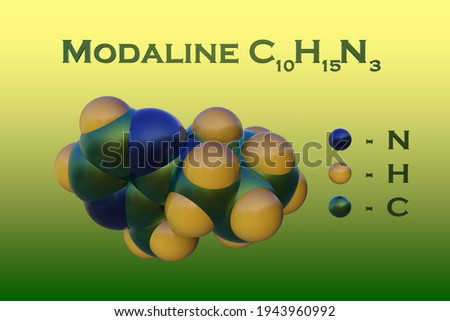 Structural chemical formula and space-filling molecular model of modaline, a potent monoamine oxidase inhibitor that used as antidepressant. Scientific background. 3d illustration Foto d'archivio ©