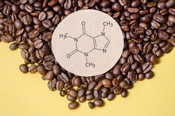 Structural chemical formula of caffeine molecule with roasted coffee beans. Caffeine is a central nervous system stimulant, psychoactive drug molecule.