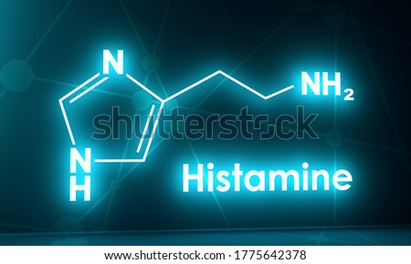 Structural chemical formula of histamine. 3D rendering Zdjęcia stock ©
