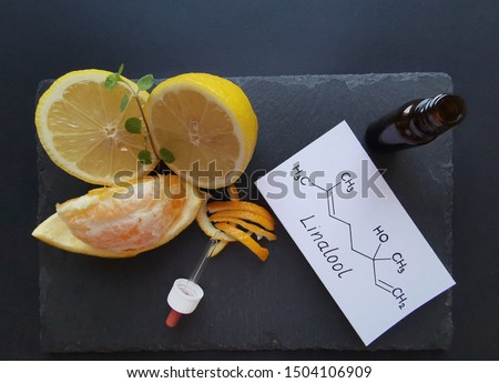 Structural chemical formula of linalool with fresh citrus fruits and a cosmetic glass bottle. Linalool is an aromatic terpene, the major component of essential oils, used in floral fragrances. #1504106909