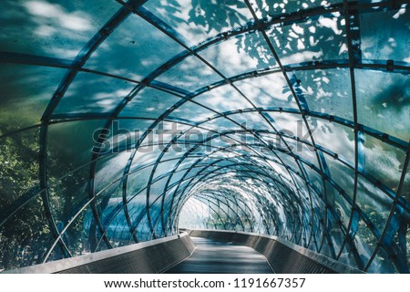 Structural glass facade curving roof and the wooden pathway inside. Modern and Contemporary architectural fiction with glass steel column.Abstract architecture fragment.   Anyang Art Park in Korea #1191667357
