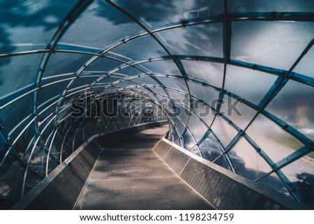 Structural glass facade curving roof and the wooden pathway inside. Modern and Contemporary architectural fiction with glass steel column.Abstract architecture fragment.  #1198234759
