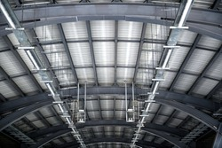 Structural steel roof in train station