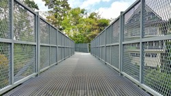 Structural walkways are made of steel.walkway background.