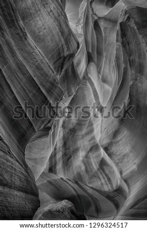 Structure and Background in the famous Antelope Canyon Arizona in black and white texture, Arizona USA