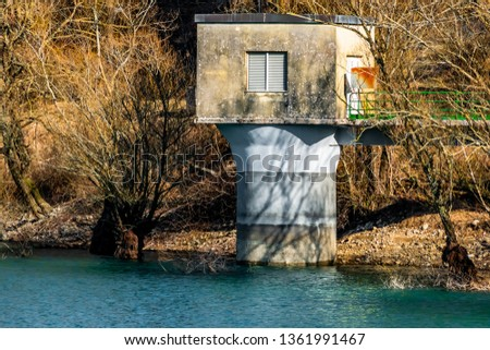 structure built on the shore of the Italian Selva lake in the Abruzzo Lazio and Molise national park #1361991467