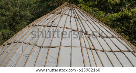 Structure  by bamboo of tent with tree ,Tensile membrane fabric roof on tree,dome for tourist resting, Roof with tree  #615982160