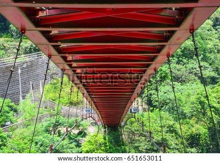 structure design under the red hanging bridge or suspension bridge, Wulai, Taiwan #651653011