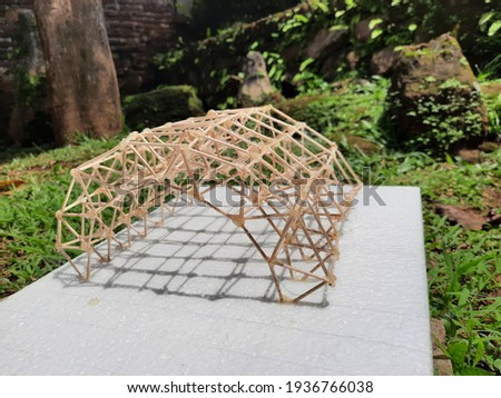 Structure maquette from wood in the garden Photo stock ©