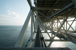 Structure of Akashi Kaikyo Bridge in Kobe, Japan, viewed from the pedestrian walkway