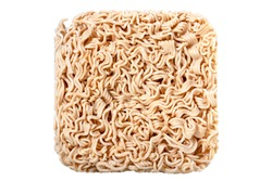 Structure of an instant noodle soup. Dry pasta used in instant dishes. Isolated background.