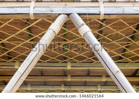 Structure of bamboo huts. Bamboo hut. Bamboo huts for living.  #1466021564