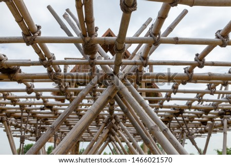 Structure of bamboo huts. Bamboo hut. Bamboo huts for living.  #1466021570