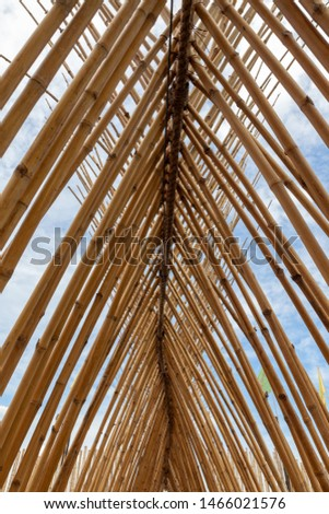 Structure of bamboo huts. Bamboo hut. Bamboo huts for living.  #1466021576