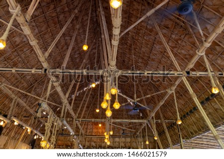 Structure of bamboo huts. Bamboo hut. Bamboo huts for living.  #1466021579
