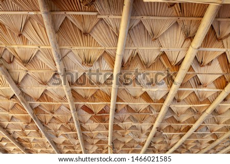 Structure of bamboo huts. Bamboo hut. Bamboo huts for living.  #1466021585