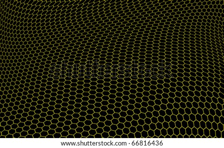structure of graphene in the form of yellow hexagons over black background