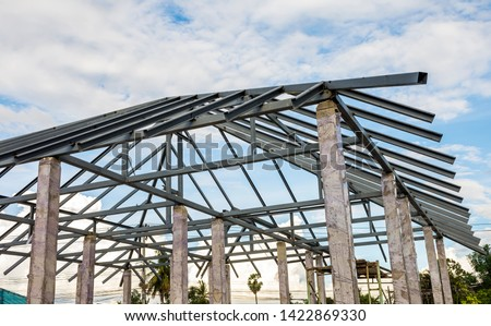 Structure of houses, pillars and concrete floors, roof structures using steel in construction #1422869330