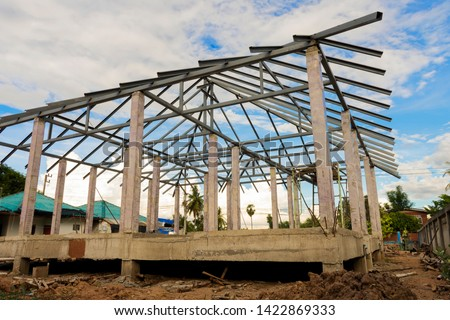 Structure of houses, pillars and concrete floors, roof structures using steel in construction #1422869333