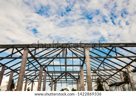 Structure of houses, pillars and concrete floors, roof structures using steel in construction #1422869336