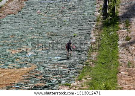 structure of inactive ski trampling in Vorokhta, Carpathians, Ukraine