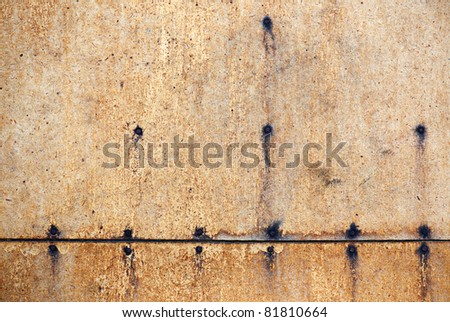 Structure of old plywood with nails
