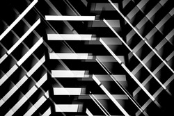 Structure of pitched roof or ceiling. Minimal architecture of modern building. Technological grid. Abstract geometric and material background with parallel lines. Construction industry or technology.