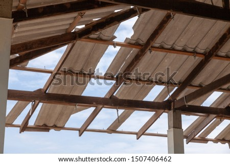 Structure of roof tiles. Interior view of roof structure. Roof structure. #1507406462