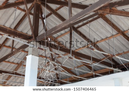 Structure of roof tiles. Interior view of roof structure. Roof structure. #1507406465