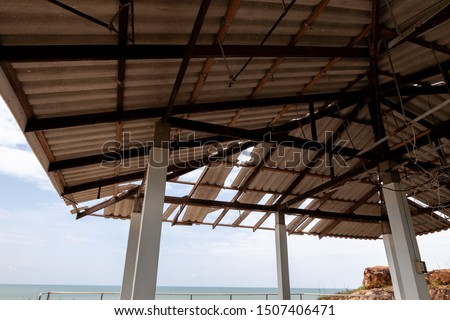 Structure of roof tiles. Interior view of roof structure. Roof structure.