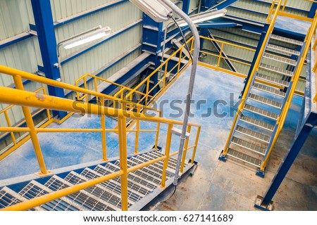 structure of stairway in industrial factory