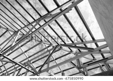 Structure of steel roof frame for building construction. | EZ Canvas