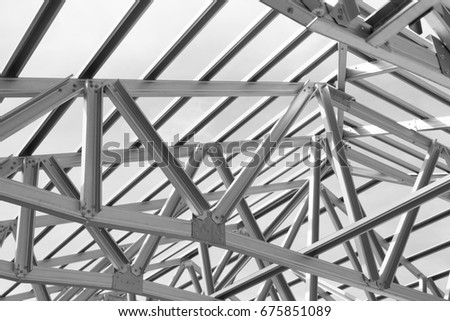 Structure of steel roof frame for building construction. - Shutterstock ID 675851089