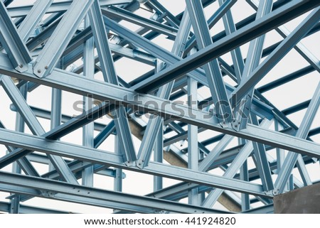 Structure of steel roof frame for construction. #441924820