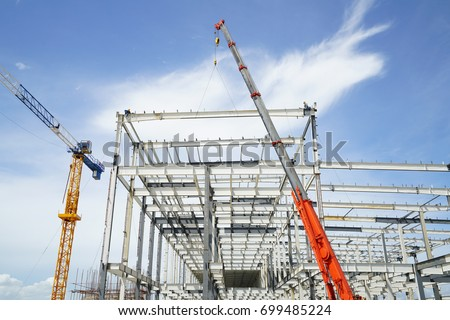 Free photos Structure of steel roof truss under building factory ...