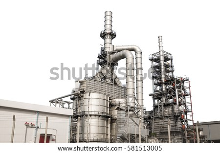 Structure of the oil refinery building isolated on white background #581513005