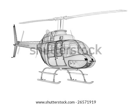 Structure of three-dimensional model of the helicopter, front view