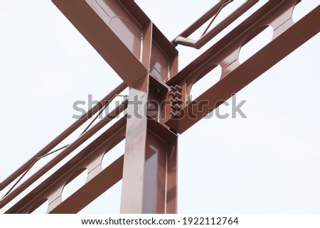 Structure steel beam, metal pillar installed for support preparing roof construction. Concept of structure steel, roofing, roof construction, girder, mounting, construction, skeleton. Stock photo ©