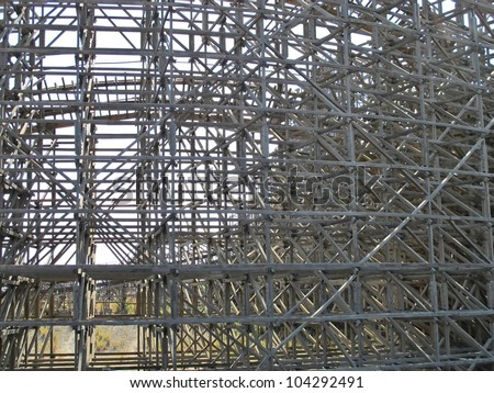 structure supports and wooden roller coaster