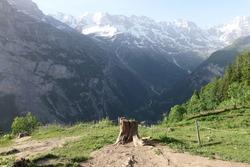 stub with beautiful landscape, Mürren