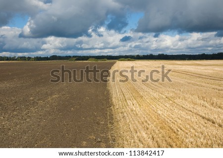 Stubble and plowed field against stormy clouds background