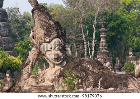 stucco ancient architecture in Sala Kaew Ku - Thai temple in hindu style, Nhongkhai Province Thailand